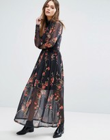 Vero Moda High Neck Floral Mesh Maxi Dress