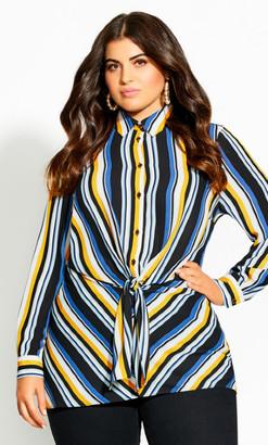 City Chic Sol Stripe Shirt - black