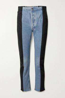 E.L.V. Denim + Net Sustain The Twin Frayed Two-tone High-rise Straight-leg Jeans - Light denim