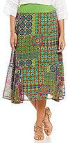 Multiples Petites Pull-On Printed Flounce Hem Skirt
