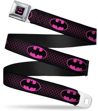 "Buckle Down Buckle-Down Seatbelt Belt - Batman Shield/Chainlink Black/Hot Pink - 1.5"" Wide - 24-38 Inches in Length"