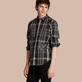 Burberry Check Cotton, Linen And Silk Shirt