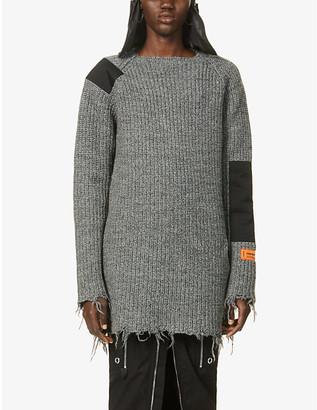 Heron Preston Raw-edge wool mini dress
