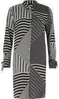 River Island Womens Black stripe block print shirt dress