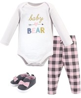 Hudson Baby Girl Long Sleeve Bodysuit, Pants & Shoes, 3pc Outfit Set