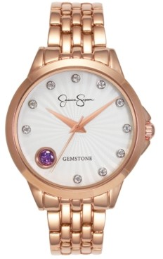 Jessica Simpson Women's Genuine Amethyst and White Topaz Rose Gold Tone Bracelet Watch 38mm