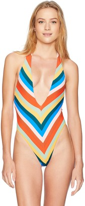 Bikini Lab Junior's V-Neck High Leg One Piece Swimsuit