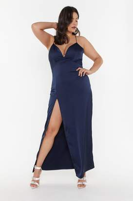 Nasty Gal Womens Look At You Satin Plus Dress - navy - 20
