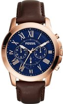 Fossil Men's Grant FS5068 Leather Quartz Dress Watch