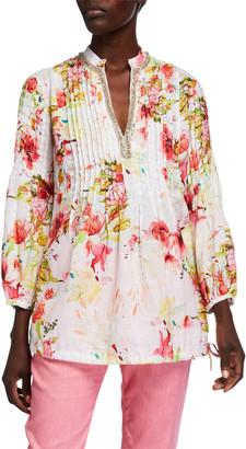 120% Lino Floral Print Pintucked Long-Sleeve Embellished Poet Shirt