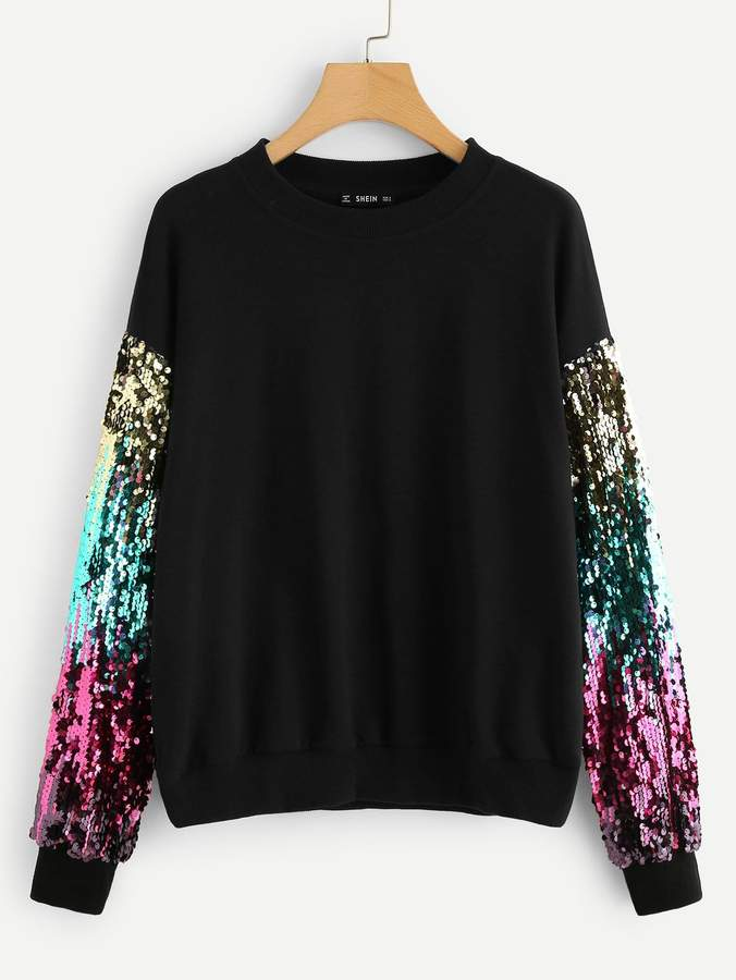 Shein Sequin contrast Tunic Pullover