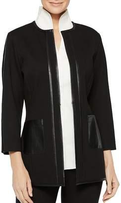 Misook Faux-Leather-Trim Ponte Jacket