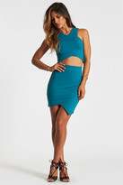 Donna Mizani V Strap Crop Top in Teal