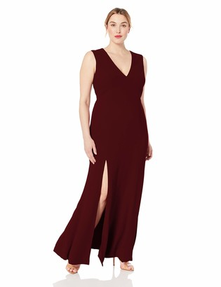 Dress the Population Women's Size Sandra Plunging Thick Strap Solid Gown with Slit Dress Plus