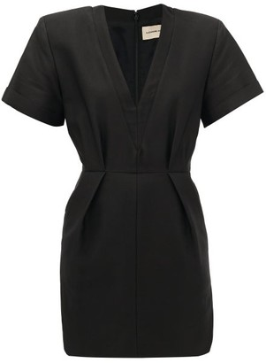 Alexandre Vauthier Pleated-waist Tailored Cotton-blend Dress - Black