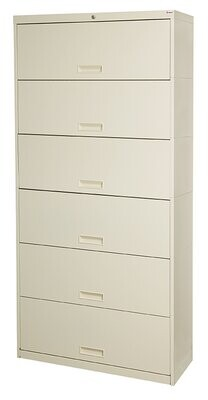 "Pandora 6 Door 36"" W Legal Size and Locking High Vertical Filing Cabinet Rebrilliant Color: Bone White"