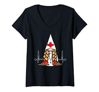 Nordic Womens Cute Gnome Nurse Stethoscope Heartbeat V-Neck T-Shirt