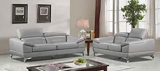 Cortesi Home Vegas Genuine Leather Sofa & Loveseat Set with Adjustable Headrests