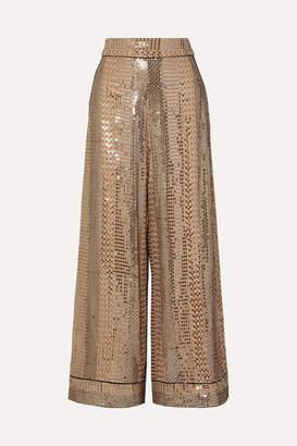 Temperley London Platinum Silk Satin-trimmed Sequin-embellished Chiffon Wide-leg Pants - Gold