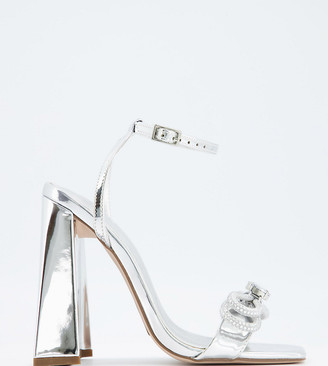 ASOS DESIGN Wide Fit Nella high-heeled sandals with diamante bow in silver