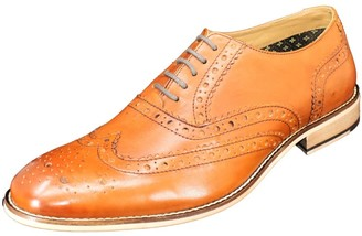 Curito Clothing Curito Woodstock Men's Smooth Leather Brogue Detail Oxford Shoes - Tan