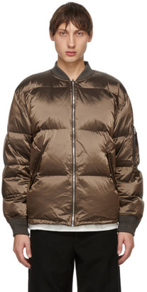 Tanaka Reversible Taupe Down Bomber Jacket