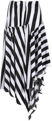 Marques Almeida Stripe-Patterned Asymmetric Skirt