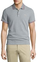 Moncler Gray-Tipped Short-Sleeve Pique Polo, Gray