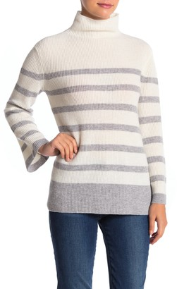Griffen Cashmere Stripe Bell Sleeve Cashmere Sweater