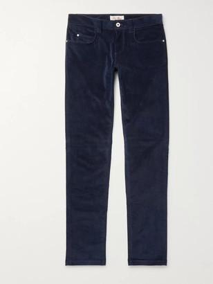 Loro Piana Slim-Fit Stretch-Cotton Corduroy Trousers - Men - Blue