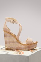 Jimmy Choo Portia 120 Suede Wedge Sandals