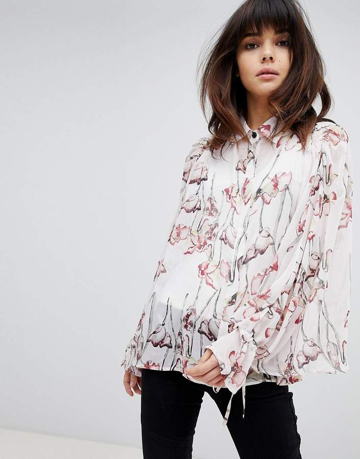 Religion Oversized Shirt In Woodland Floral