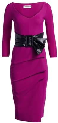 Chiara Boni Rannah Patent Belted Sheath Dress