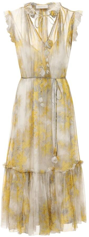 Zimmermann Botanica Wattle Print Chiffon Midi Dress