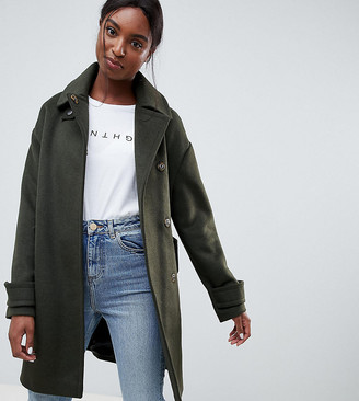 Asos Tall DESIGN Tall coat in twill with buckle neck-Green