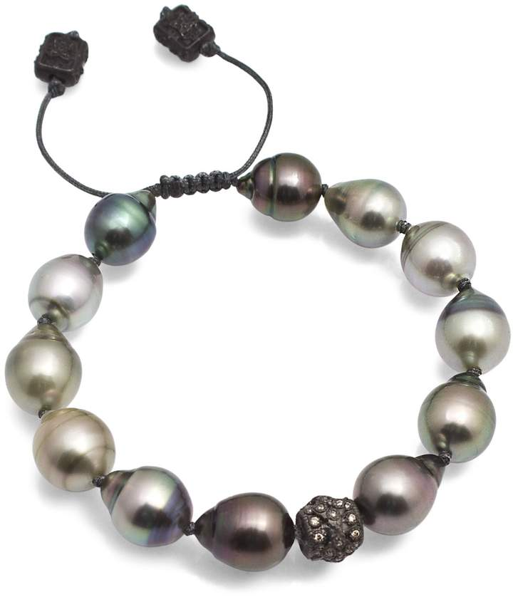 Armenta Old World Midnight Tahitian South Sea Pearl and Champagne Diamond Beaded Cord Bracelet
