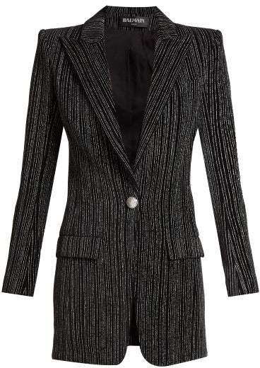Balmain Striped Single Breasted Velvet Blazer - Womens - Black Silver
