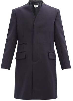Maison Margiela Cavalry Collarless Virgin-wool Coat - Navy