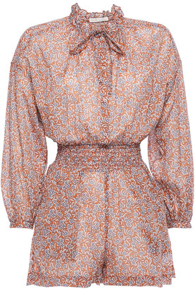 Maje Icalys Tie-neck Shirred Floral-print Cotton-voile Playsuit