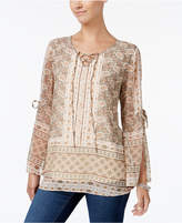 Style&Co. Style & Co Style & Co Petite Printed Lace-Up Peasant Top, Created for Macy's