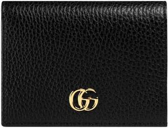 Gucci GG Marmont Card Case Pebbled Leather Black