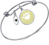 Unwritten Best Friends Paw Print Bangle Bracelet in Stainless Steel with Silver-Plated Charms