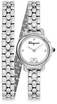 Salvatore Ferragamo Varina Stainless Steel Double-Wrap Bracelet Watch