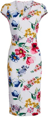 New York & Co. Floral Cap-Sleeve Sheath Dress