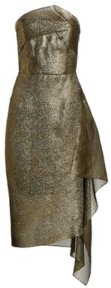 Roland Mouret Flynn Lurex Organza Strapless Cocktail Dress