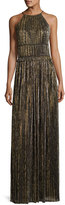 St. John Metallic Plissé Halter Gown, Black/Gold