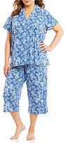 Lauren Ralph Lauren Plus Bandanna-Print Slub Jersey Capri Pajamas