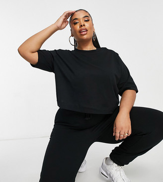 Collusion Plus boxy short sleeve T-shirt in black