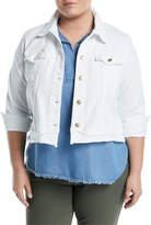 MICHAEL Michael Kors Frayed Denim Crop Jacket, Plus Size
