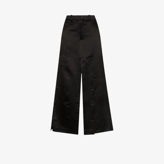 A.W.A.K.E. Mode side slit satin maxi skirt